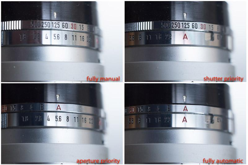 Minolta Hi-Matic 7S four exposure modes