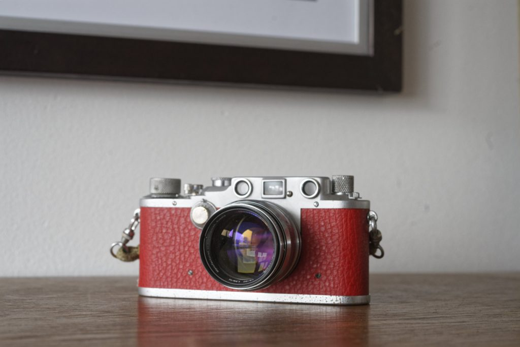 Leica IIIc in red vinyl with Jupiter-3+ lens